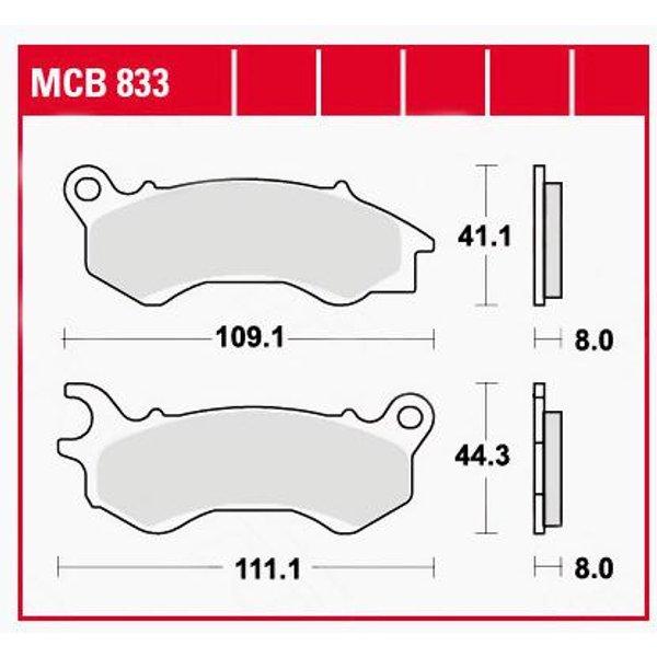 TRW Lucas Bremsbeläge organisch MCB833 109,1/111,1x41,1/44