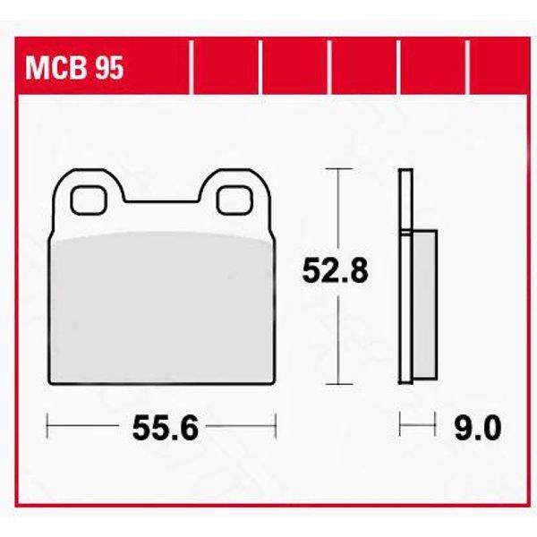 TRW Lucas Bremsbeläge organisch MCB95 55,6x52,8x9mm