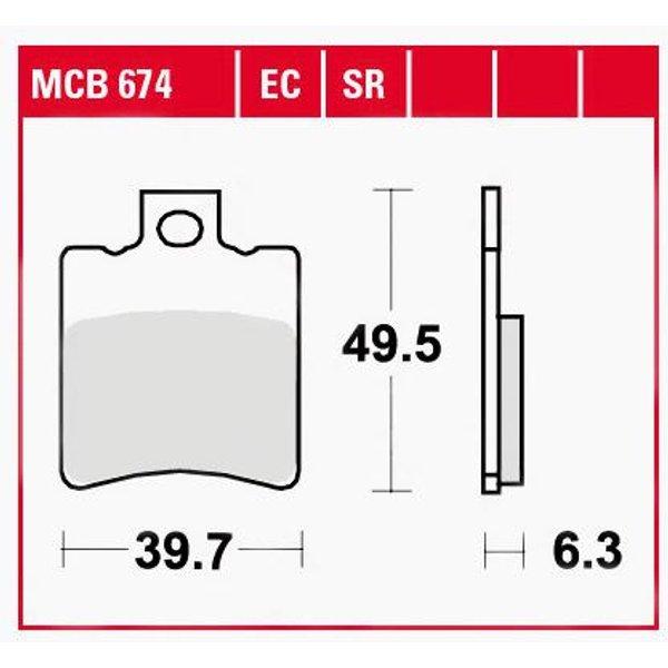 TRW Lucas Bremsbeläge organisch MCB674 39,7x49,5x6,3mm