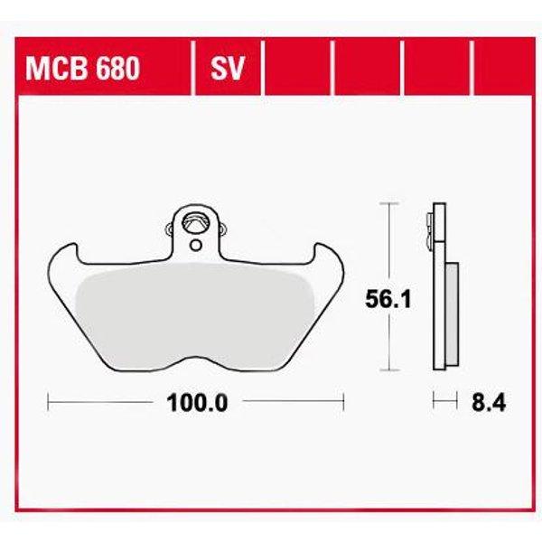 TRW Lucas Bremsbeläge organisch MCB680 100x56,1x8,4mm