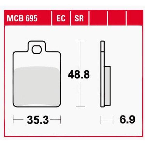 TRW Lucas Bremsbeläge organisch MCB695 35,3x48,8x6,9mm