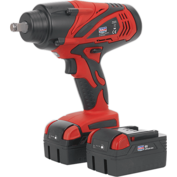 Sealey CP3005 Cordless Lithium-ion Impact Wrench 18V 4Ah 1/2Sq Drive 650Nm