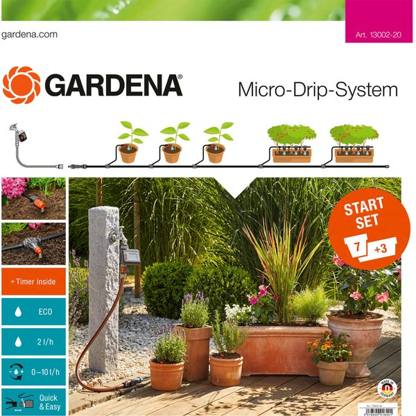 Gardena MICRO DRIP 7 Pot and Planter Water Irrigation and Water Timer Starter Set