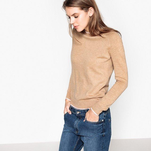 Pull bordo a contrasto lana  donna cammello