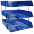 3 Blue Letter Trays and Risers