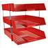 3 Red Letter Trays and Risers