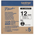 Brother HG-131V5 P-Touch Original Label Tape Black On Clear Paper 12mm x 8m (5 Pack)