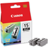 Canon BCI-15BK Original Black Ink Cartridge Twinpack