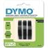 Dymo S0847730 Original White on Black Embossing Tape 9mm x 3m - 3 Pack