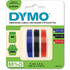 Dymo S0847750 Original Blue/Black/Red Embossing Tape 9mm x 3m - 3 Pack