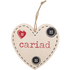 Cariad Welsh Hanging Heart Sign