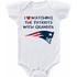 New England Patriots I love Watching With Grandpa Baby Onesie or T-shirt