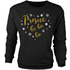 Prosecc Ho Ho Ho Metallic Black Womens Christmas Sweatshirt - L - Black