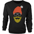 Hipster Santa Glitter Beard Black Womens Christmas Sweatshirt - M - Black