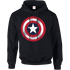 Marvel Avengers Assemble Captain America Distressed Shield Pullover Hoodie - Black - XL - Black