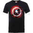 Marvel Avengers Assemble Captain America Art Shield Badge T-Shirt - Black - XXL - Black