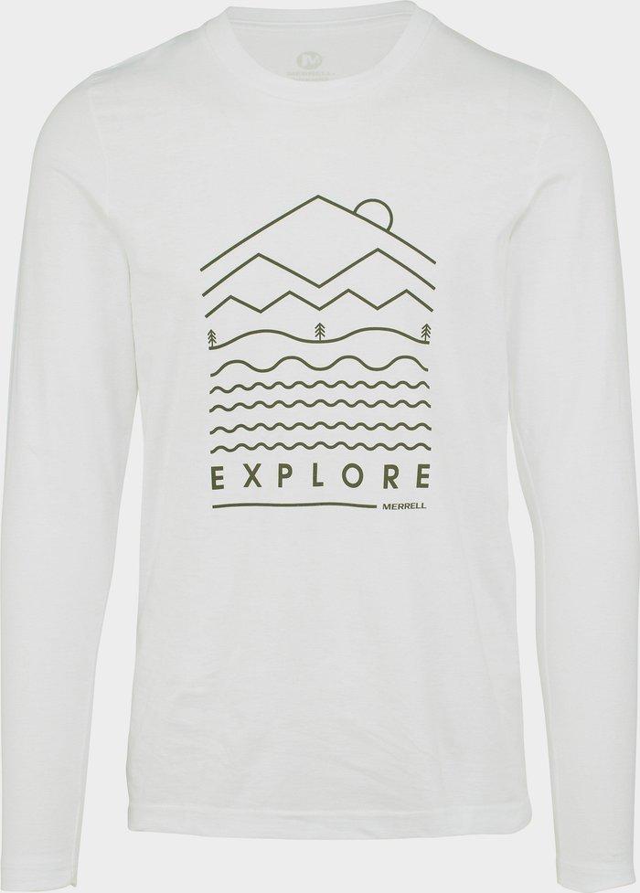 Merrell Men's Explore Long Sleeve Crew Tee, White/White
