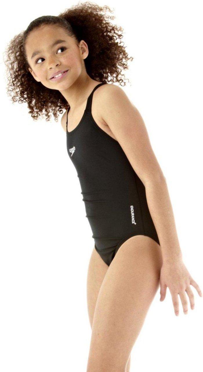 Speedo Girls' Endurance+ Medalist Swimsuit, BLACK