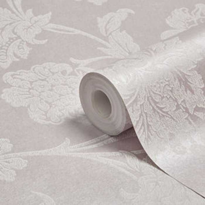Graham & Brown Graham & Brown Fibrous sandringham Lilac & white Floral Metallic effect Wallpaper