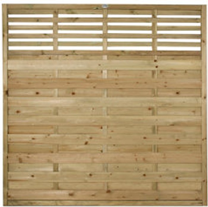 Forest Garden Forest Garden Contemporary Slatted Pressure treated Fence panel (W)1.8m (H)1.8m  Pack of 10