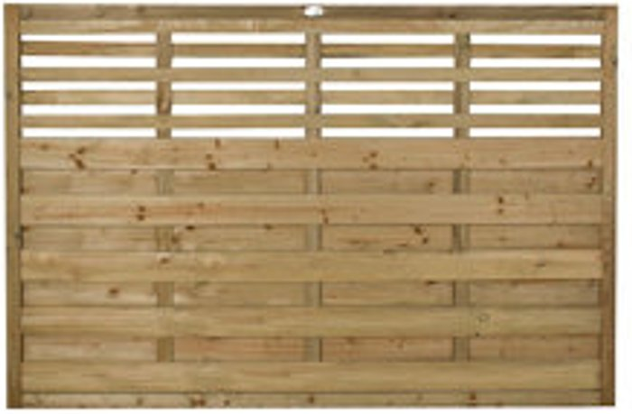 Forest Garden Forest Garden Contemporary Slatted Pressure treated Fence panel (W)1.8m (H)1.2m  Pack of 10