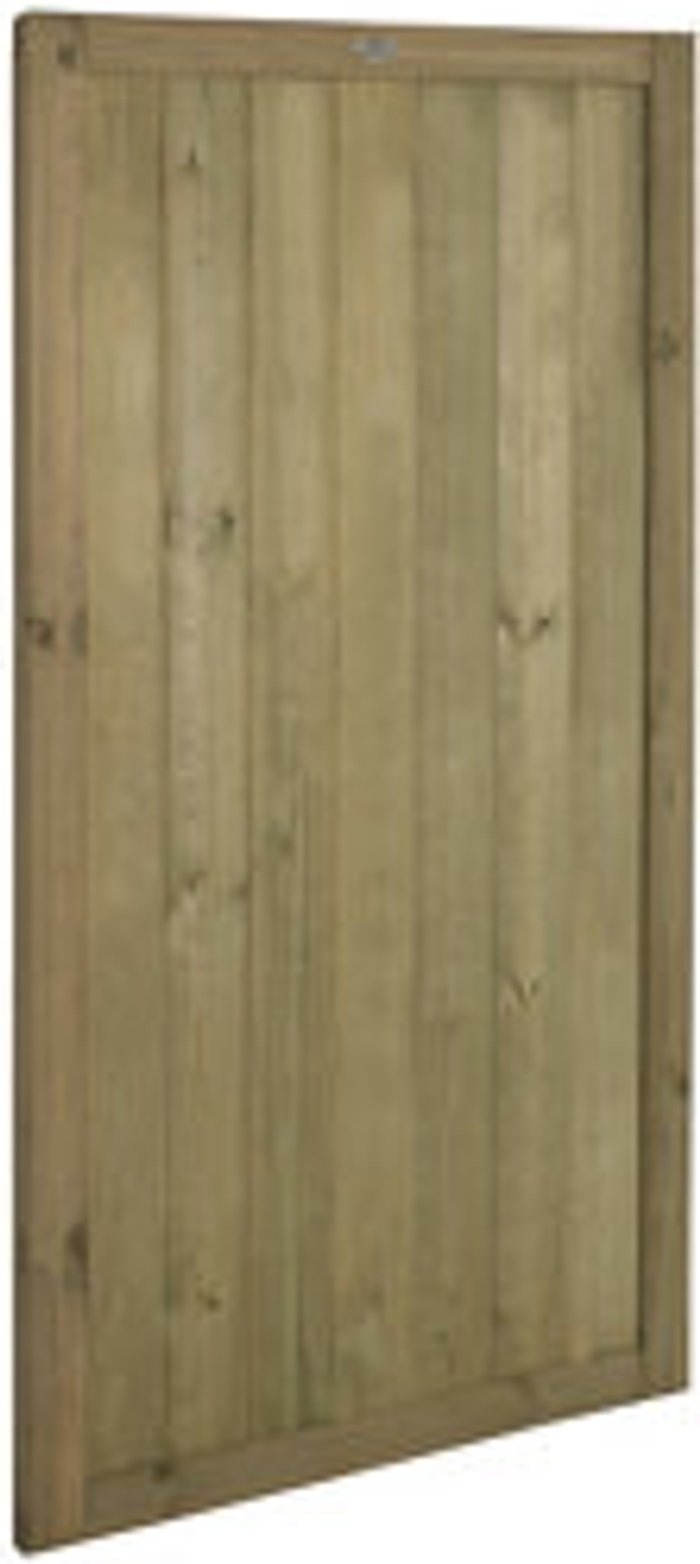 Forest Garden Forest Garden Tongue & Groove Wood Slatted Gate  (H)1.8m (W)0.9m