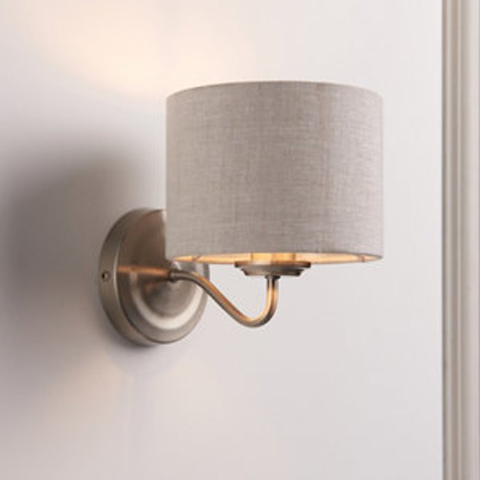 Ayshire Natural & nickel Wired Wall light