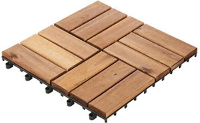 Blooma Blooma Lempa Brown Acacia Clippable deck tile (L)0.3m (W)300mm (T)24mm  Pack of 4