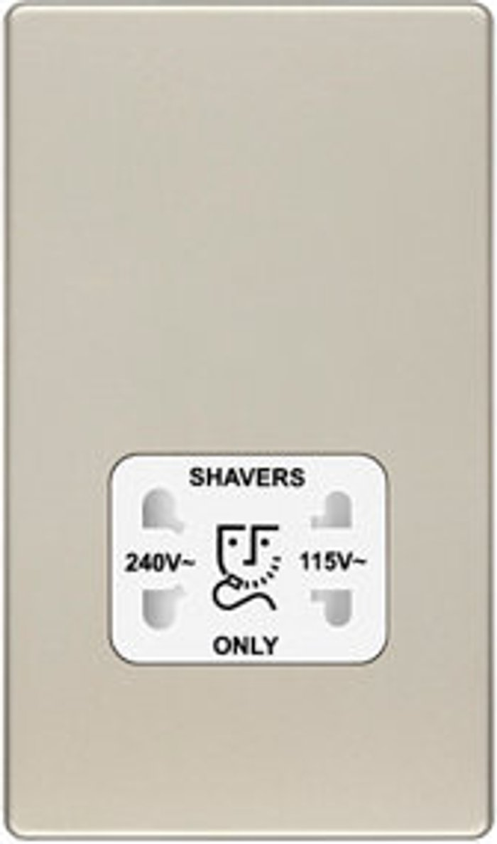 Colours Colours Flat Screwless Gold Nickel effect Shaver socket