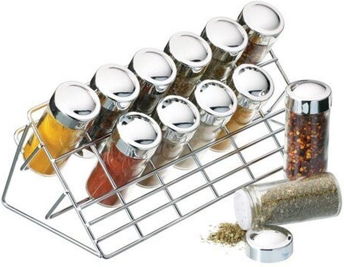 Kitchen Craft Kitchen Craft Chrome Plated Spice Rack & 12 Glass Bottles