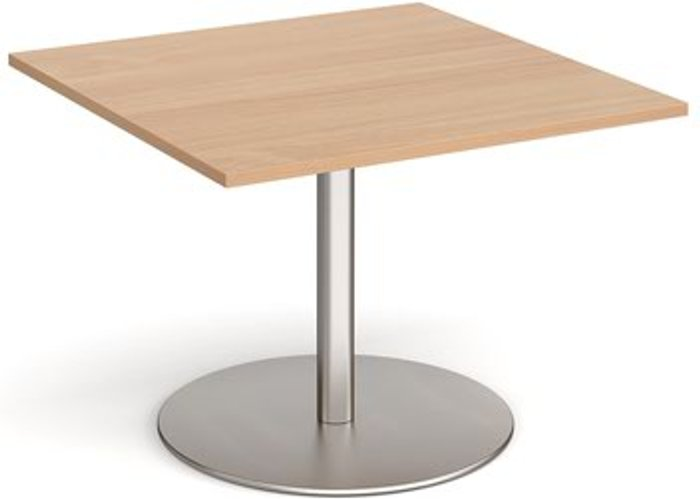 Eternal Eternal square extension table 1000mm x 1000mm - brushed steel base and beech top