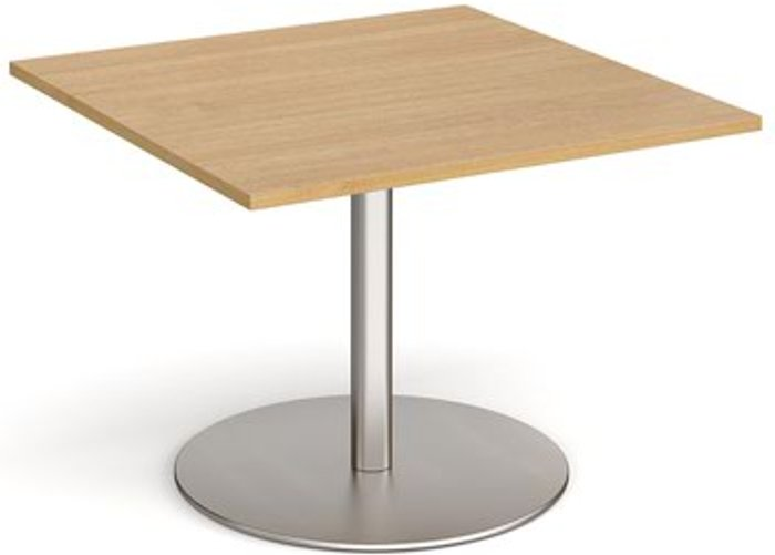 Eternal Eternal square extension table 1000mm x 1000mm - brushed steel base and oak top