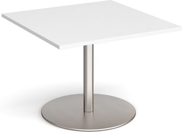 Eternal Eternal square extension table 1000mm x 1000mm - brushed steel base and white top