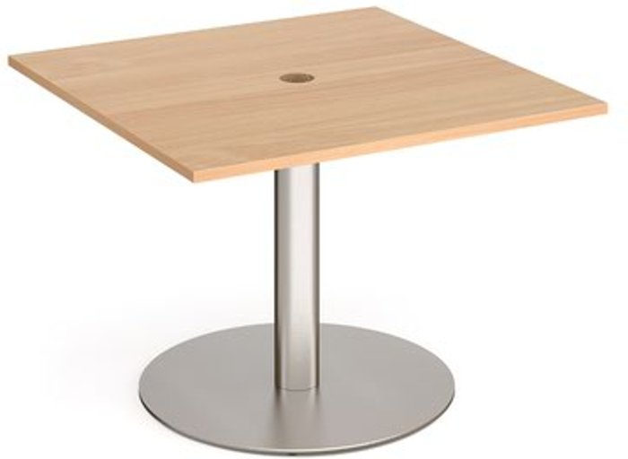 Eternal Eternal square meeting table 1000mm x 1000mm with central circular cutout 80mm - brushed steel base and beech top