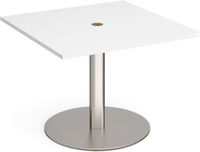 Eternal Eternal square meeting table 1000mm x 1000mm with central circular cutout 80mm - brushed steel base and white top