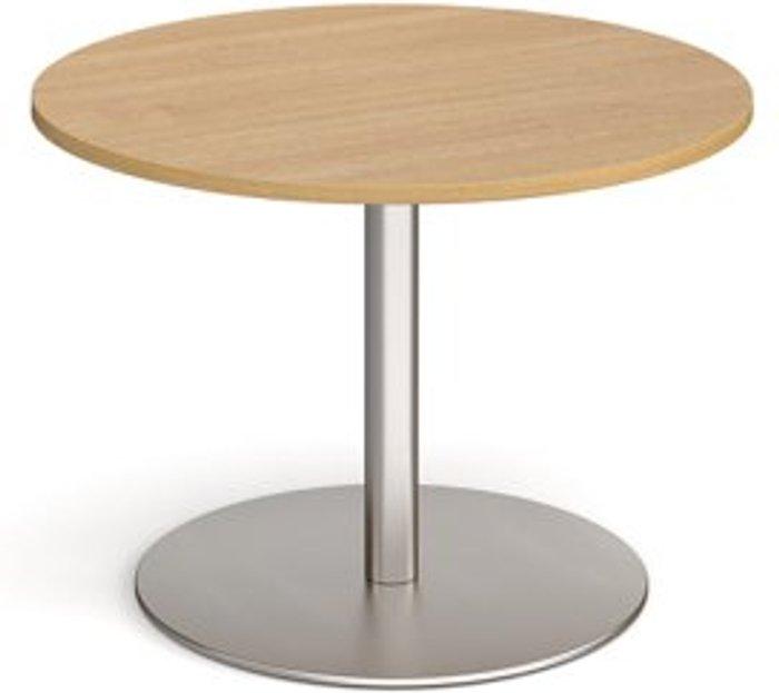Eternal Eternal circular boardroom table 1000mm - brushed steel base and oak top