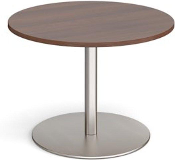Eternal Eternal circular boardroom table 1000mm - brushed steel base and walnut top