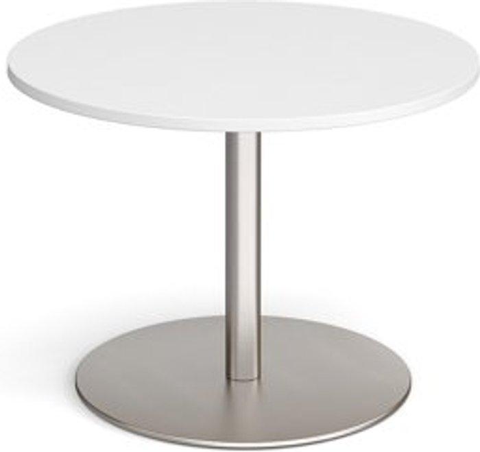 Eternal Eternal circular boardroom table 1000mm - brushed steel base and white top