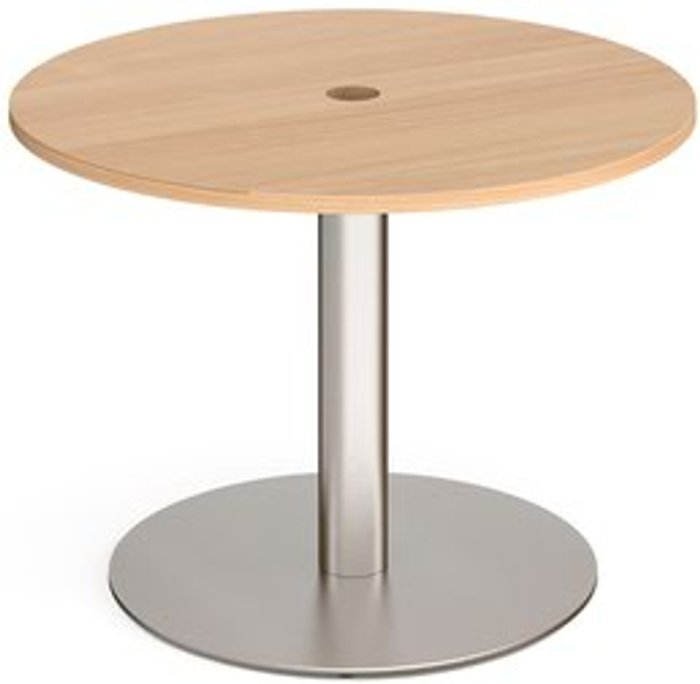 Eternal Eternal circular meeting table 1000mm with central circular cutout 80mm - brushed steel base and beech top