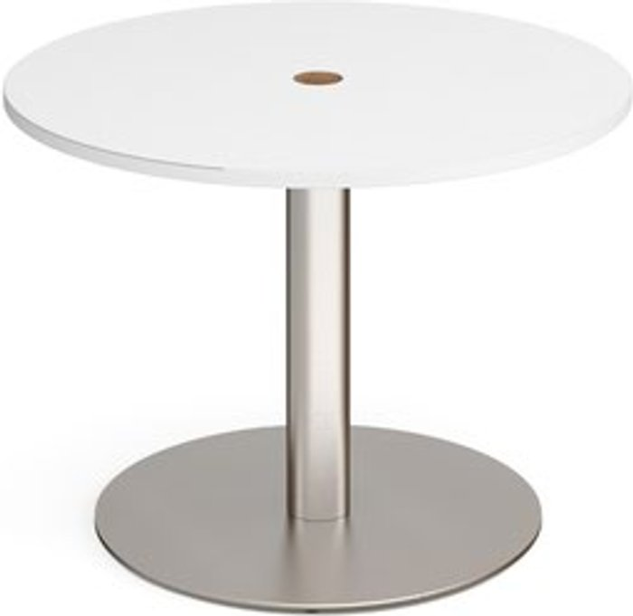 Eternal Eternal circular meeting table 1000mm with central circular cutout 80mm - brushed steel base and white top