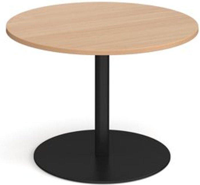 Eternal Eternal circular boardroom table 1000mm - black base and beech top