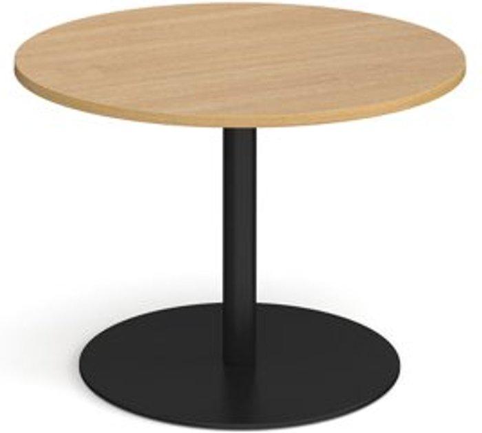 Eternal Eternal circular boardroom table 1000mm - black base and oak top