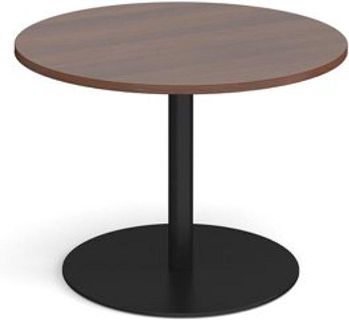 Eternal Eternal circular boardroom table 1000mm - black base and walnut top