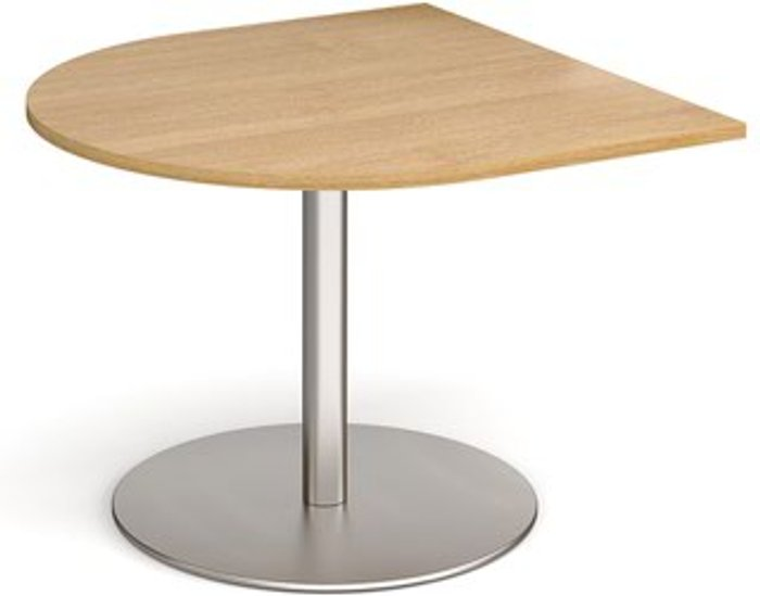 Eternal Eternal radial extension table 1000mm x 1000mm - brushed steel base and oak top