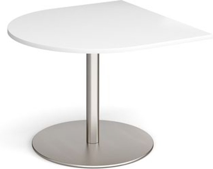 Eternal Eternal radial extension table 1000mm x 1000mm - brushed steel base and white top
