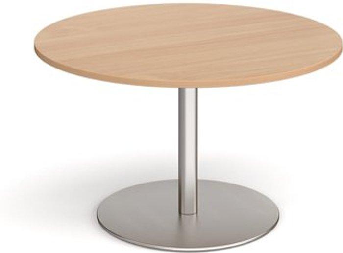 Eternal Eternal circular boardroom table 1200mm - brushed steel base and beech top