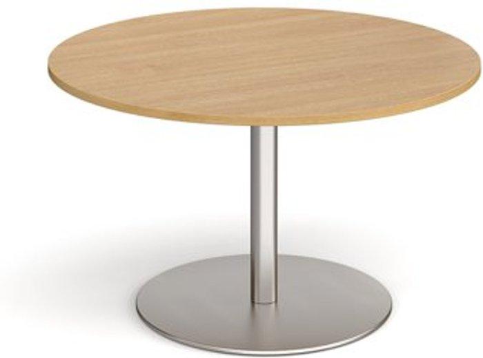 Eternal Eternal circular boardroom table 1200mm - brushed steel base and oak top
