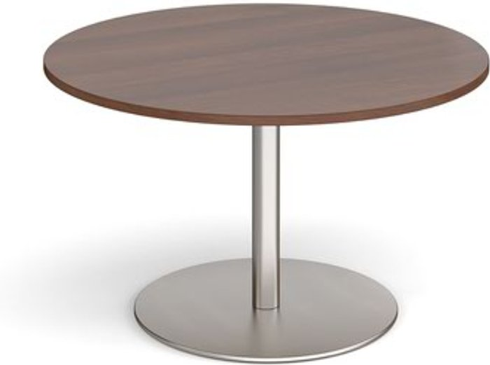 Eternal Eternal circular boardroom table 1200mm - brushed steel base and walnut top