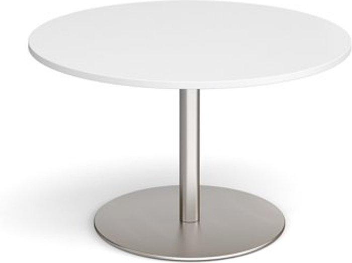 Eternal Eternal circular boardroom table 1200mm - brushed steel base and white top