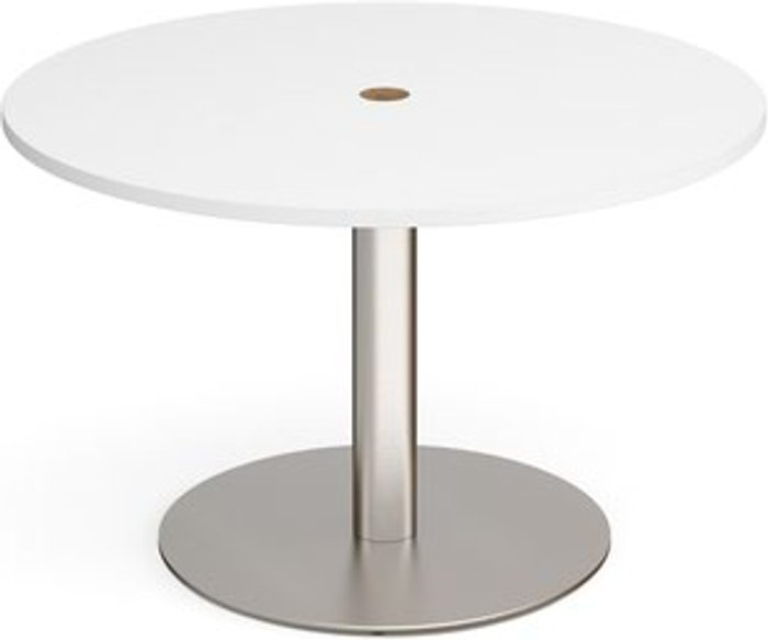 Eternal Eternal circular meeting table 1200mm with central circular cutout 80mm - brushed steel base and white top